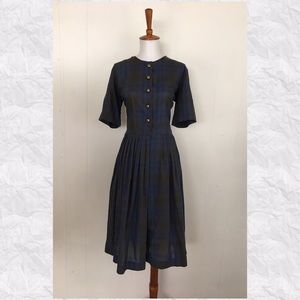 Vintage Plaid Short Sleeve A-Line Midi Day Dress